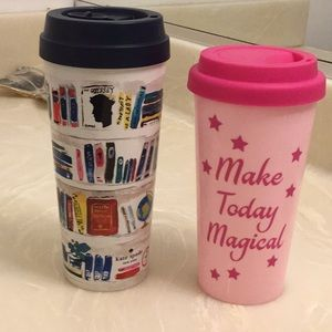 Kate Spade on the go cup with sliding closure.
